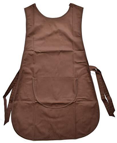 MCC Trading Damen Kasack Schürze Gastro-Arbeitskleidung Überwurfkasack Überwurfschürze (Braun)