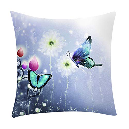 LEEDY - Funda de cojín con estampado de mariposas, para decoración del hogar, sofá, coche, dormitorio con cremallera invisible, 45,7 x 45,7 cm, poliéster, A, Medium