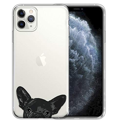 FINCIBO Case Compatible with Apple iPhone 11 Pro 5.8 inch, Clear Transparent TPU Silicone Protector Case Cover Soft Gel Skin for iPhone 11 Pro (NOT FIT 11 Pro Max) - French Bulldog Puppy Dog Black
