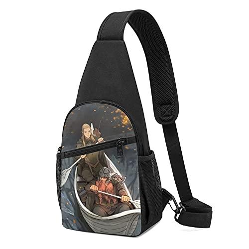Lord Rings Hobbit Paquete de pecho duradero de alta capacidad, cómodo, exquisito patrón impreso casual moda hombro Crossbody Bolsas