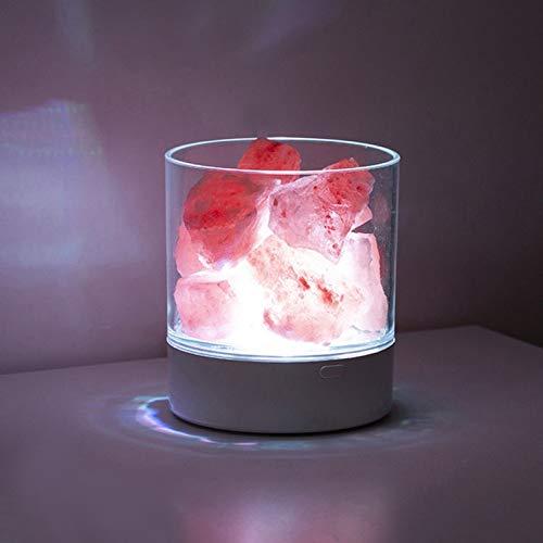 Lámpara de Sal del Himalaya Cristal Natural Pequeña Piedra Iónica Luz de Noche Cristal Rosa Natural para Dormitorio Oficina Exterior Camping Lámpara de Yoga