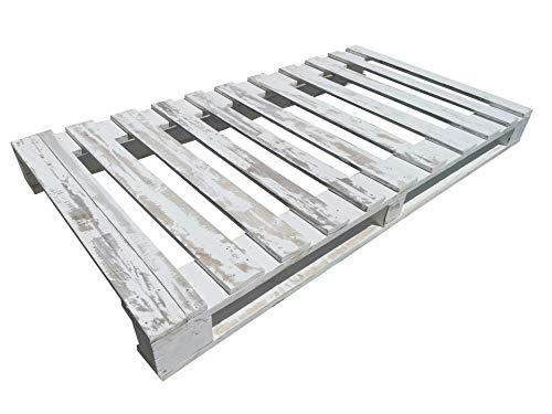 Somier & Cama de palets Individual de 90 cm- Somieres de pallets juveniles para colchones de 90 x 170 & 180 & 190 & 200 & 210 & 220 color blanco envejecido Cabecero & Cabezales de 0.90