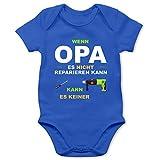 Shirtracer Strampler Motive - Wenn Opa es Nicht reparieren kann kann es keiner - 3/6 Monate - Royalblau - Babystrampler Opa - BZ10 - Baby Body Kurzarm für Jungen und Mädchen
