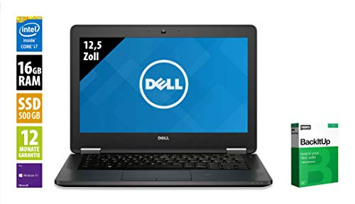 Dell Latitude E7270 | Notebook | 12,5 Zoll | Core i7-6600U @ 2,6 GHz | 16GB RAM | 500GB SSD | FHD (1920x1080) | Webcam | Windows 10 Pro (Zertifiziert und Generalüberholt)