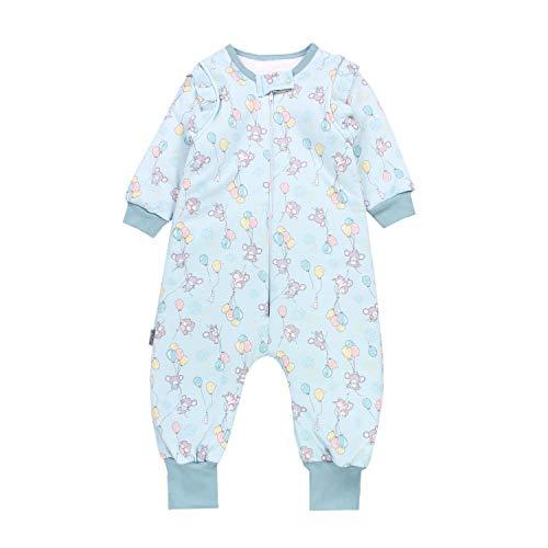 TupTam Baby Unisex Schlafsack mit Beinen und Ärmel Winter, Farbe: Mäuse mit Ballons/Grün, Größe: 104-110