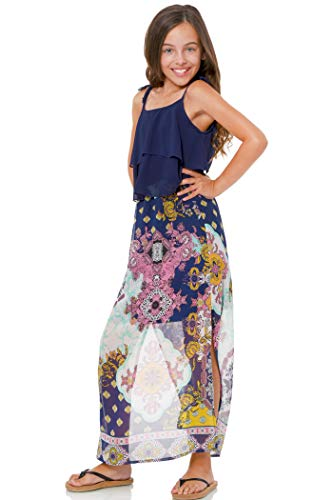 Truly Me, Big Girls' Two-fer Style Dress with Ruffles and Paisley Floral Print, Size 7-16 (14, Navy Multi)