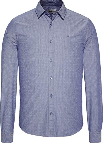 Calvin Klein Wilbens Slim Fit STP DOB L/S Shirt Camicia, Blue Depths, Small Uomo
