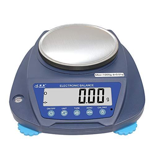 ZCXBHD Alta Precisión 0.01g Electrónico Balance Laboratorio Escala Electrónica Negocio Balanza De Cocina Oro Escala De Joyería con LCD Multifuncional Medición Escala De Peso (Color : 1000g/0.01g)