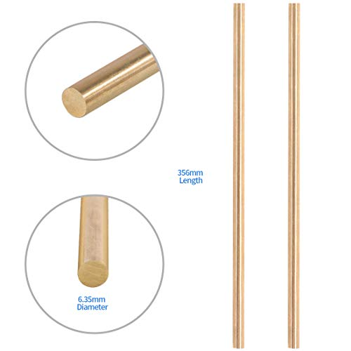 Glarks 2Pcs 6.35mm x 356mm Brass Straight Solid Round Rod Lathe Bar Stock for DIY RC Model Car, RC Helicopter Airplane, Model Ship (6.35mmx356)