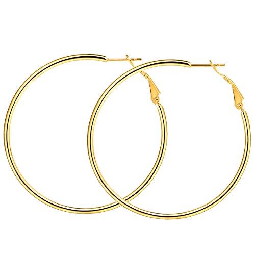 FOCALOOK Creolen Hoop Ohrringe 100mm Große Runde Kreis Ohrringe goldfarben Elegant Ohrschmuck für Frauen Mädchen Bürodamen
