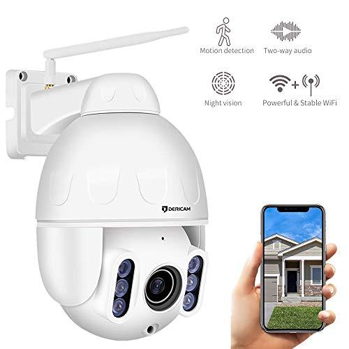 Dericam 1080P IP Dome Outdoor WiFi-Überwachungskamera, 4X Optische PTZ-Kamera, Autofokus, 30m Nachtsicht, Fester Betrachtungswinkel 90 °, Externer SD-Kartensteckplatz, Wetterfest IP65, S2C
