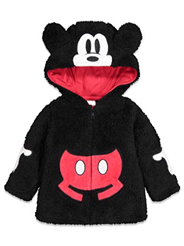 Disney Mickey Mouse Baby Boys Newborn Sherpa Fleece Costume Hoodie Zipper 0-3 Months