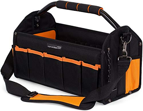 Internet's Best Open Top Electricians Tool Bag - Stiff Frame Tote Tool Box - 16 Pocket Utility Tool Bin - 17 Inch