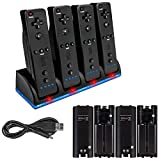 4 Pcs 2800mAh Rechargeable Cells for Wii, 4 in 1 Wii Charging Dock Station for Wii Remote N-Switch Accessory for Wii/Wii U Controller(Black)