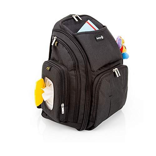 Safety 1st Wickelrucksack für unterwegs, Wickeltasche inklusive Feuchttuch-Box mit Schnellzugriff, Wickelauflage und 17 verschiedenen Staufächern, schwarz