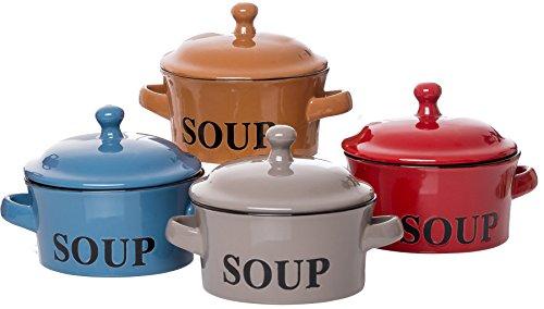Ritzenhoff & Breker Regina - Tazas de sopa con tapa y asa (4 unidades, 460 ml), colores surtidos