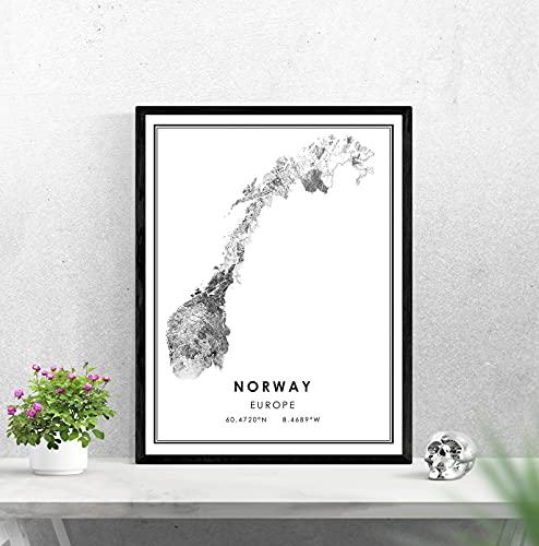 LTGBQNM Noruega Mapa del país Imprimir Cartel Lienzo |Noruega Ciudad Ciudad Mapa Imprimir Cartel Lienzo 20x28inch Sin Marco