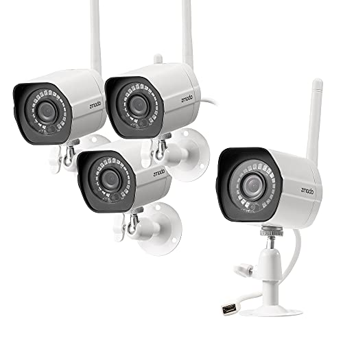Zmodo Outdoor Security Camera (4 Pack), 1080p Full HD Wireless Cameras for Home Security with Night Vision, Cloud Service Available,...
