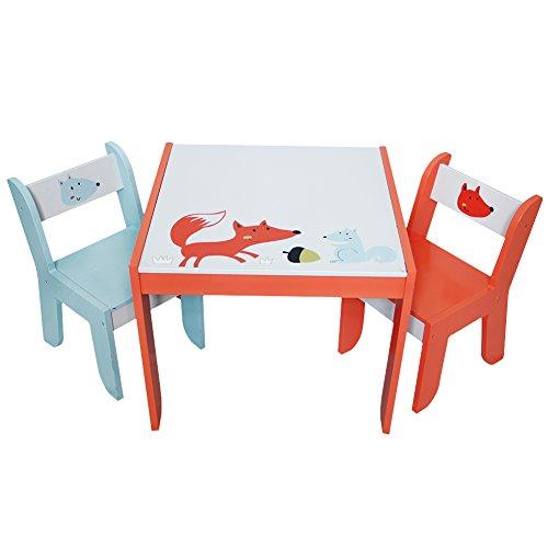 Labebe Kindertisch Holz, Weiß Fuchs Baby Tisch Stuhl Für 1-5 Jahre Alt, Activity Tisch Kinder/Tisch Essen Ausziehbar Stuhl/Tisch Kindertisch Set/Babysitz Tisch/Schutz Tisch/Holz Tisch Babysitz