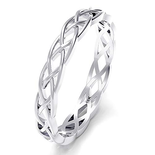 Sz 12.0 Solid 10K White Gold 3MM Eternity Celtic Knot Stackable Wedding Band Ring