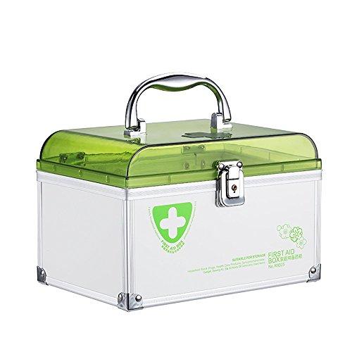 """Glosen First Aid Box Lockable Medicine Storage Box with Child Safe Lock 8.46""""x5.51""""x5.87""""(Green)"""
