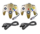 DARLINGTON & Sohns 2 - Controlador dorado para Nintendo 64 N64 Joystick Gold Gamepad Joypad + extensión Extansion Cable alargador Gamepad