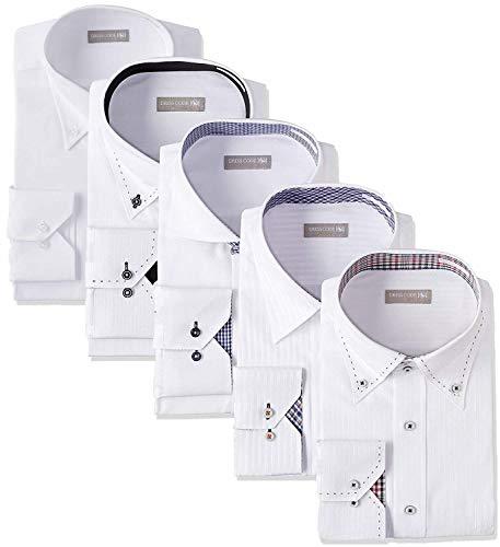 [ドレスコード101] ワイシャツ 長袖 5枚セット Yシャツ 形態安定 メンズ ドレスシャツ デザインシャツ 豊富なサイズ展開でぴったりがみつかる ビジネスシーンでもおしゃれしよう SHIRT-5SET 13 ベーシック 首回り41cm裄丈84cm
