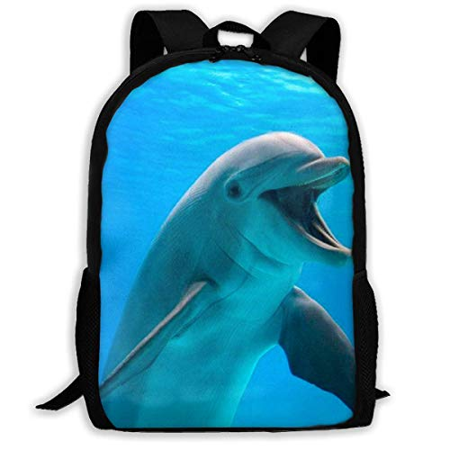 XCNGG Happy Dolphin Printed Travel Backpack,Waterproof Lightweight Laptopbag Have Two Side Pockets