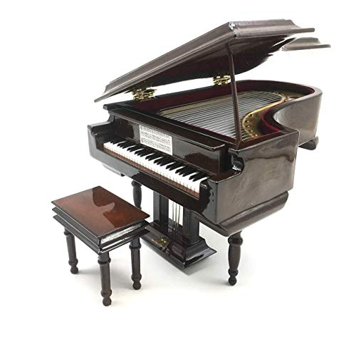 SHTWX Piano Music Box with Bench and Black Case Musical Boxes Gift for Christmas/Birthday/Valentine's Day, Melody Canon