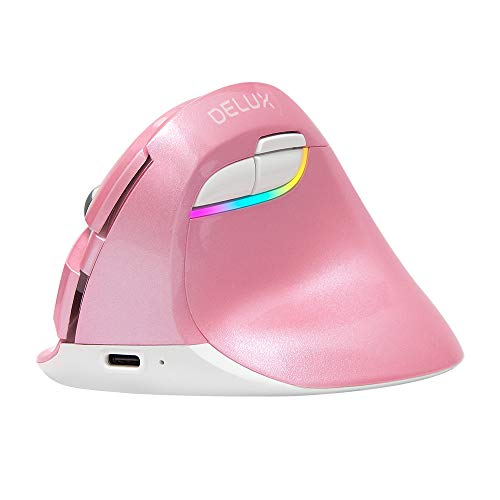 Delux Vertical Mouse with 2.4G USB Dongle and BT 4.0, Ergonomic Silent Wirless Mouse with Built-in Rechargeable Battery, 6 Buttons and 4 Level Sensitivity for Small Hands (M618mini-Pink)