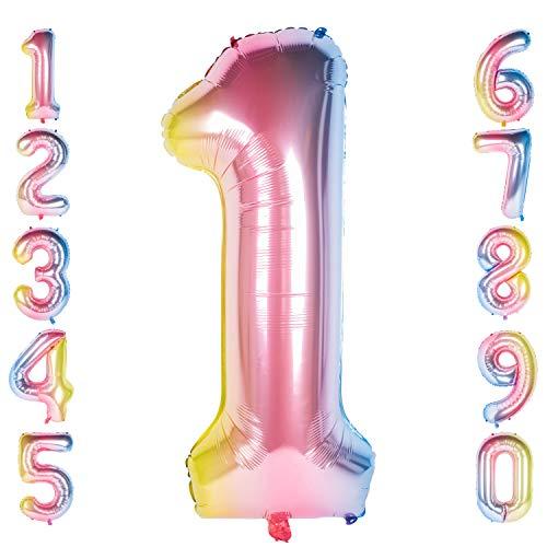 CHANGZHONG 40 Zoll 0 to 9 in Regenbogen Nummer Folienballon Helium Zahlenballon Luftballon Riesenzahl Party Hochzeit Kindergeburtstag Geburtstag (Number 1)
