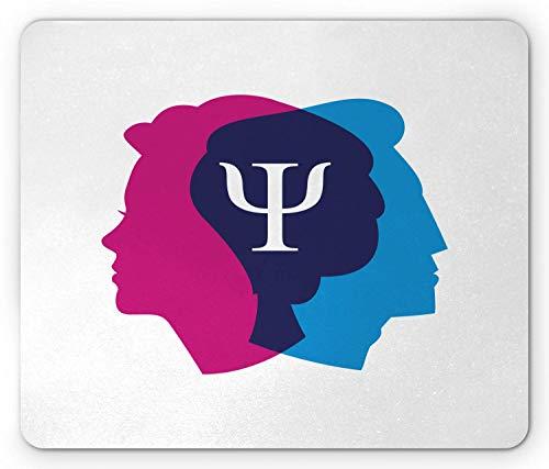 Psychologie-Mauspad, einfaches und symbolisches Beziehungskonzept, das Gedanken des menschlichen Kopfes darstellt, rechteckiges rutschfestes Gummi-Mauspad, Standard Blue Indigo Magenta