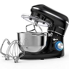 Keukenmachine kneden machine FREIHAFEN 5.5L Minder geluiden Kneden machine met garde, kneden haak, slagman, spatbescherming, 6 snelheid met roestvrijstalen kom deeg machine (zwart)*