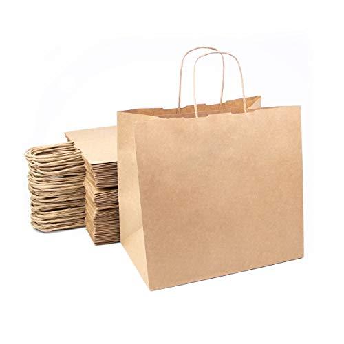 Conjunto de 50 bolsas de papel kraft marrón con asas 26x24x17 cm