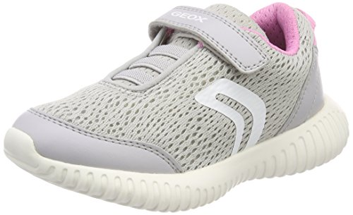 Geox Mädchen J Waviness Girl C Sneaker, Grau (Lt Grey/Pink), 31 EU
