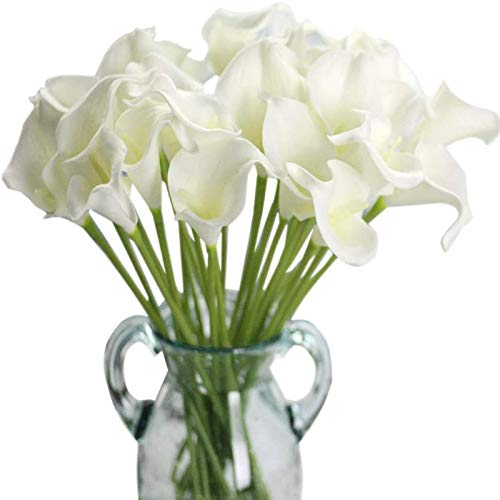 YYHMKB Artificial Flowers, Fake Flowers Silk Artificial Calla Lily Bridal Wedding Bouquet For Home Garden Party Wedding Decoration 12Pcs (Pure White) White