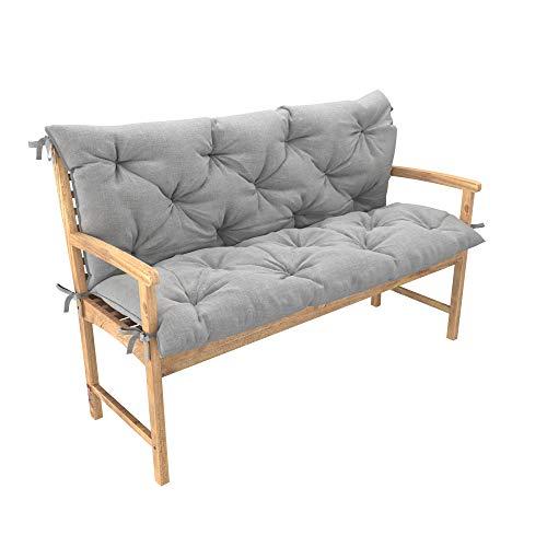 chilly pilley Bankkissen Relax Palettenkissen mit Rückenlehne Gartenschaukelkissen mit Nähten gesteppt Gartenkissen Sitzpolster Hollywoodschaukel (100x50x50, Silber)