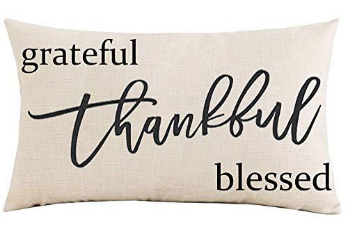 Jimrou Throw Pillow Cover 12x20 inches Festival Gifts Thanksgiving Christmas Grateful Thankful Blessed Best Wishes Cotton Linen Decorative Home Sofa Chair Car Lumbar Throw Pillow Case Cushion Cover
