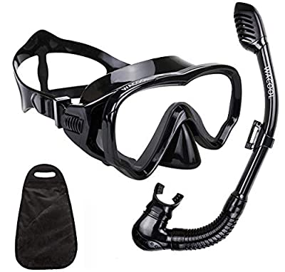 WACOOL Snorkeling Snorkel Package Set for Kids Youth Junior, Anti-Fog Coated Glass Diving Mask, Snorkel with Silicon Mouth Piece,Purge Valve and Anti-Splash Guard. (Black)