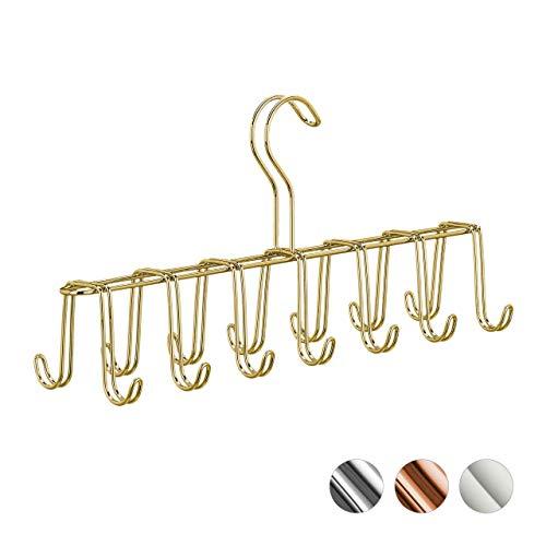 relaxdays Corbatero 14 Ganchos, Percha Cinturones Moderna, Metal, Dorado, 17 x 36 x 9,5 cm, Hierro