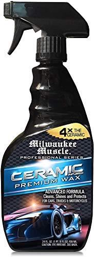 Milwaukee Muscle - Spray de cera para coche de cerámica, 24 onzas líquidas, 4 unidades de revestimiento de cerámica, con detalle de cera en aerosol hidrofóbico avanzado para brillo y protección