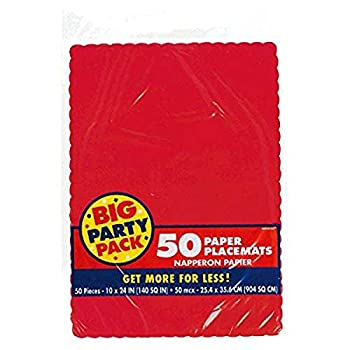 Amscan Paper Placemats Party Decorations 10  x 14  Apple Red