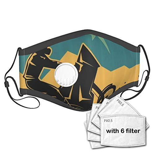 YCHY Dirt Motocross On The Mountain Region Grunge Effect Action Bike Race Themed Design Unisex Washable Mouth Sleeve with Filter Anti-Dust Reusable Mouth Guard-Include 6 Filters