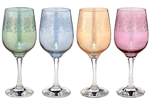 Joseph Sedgh Collection - Set di 4 calici da vino in cristallo colorato, prodotto italiano, 445 ml, calici incisi a mano