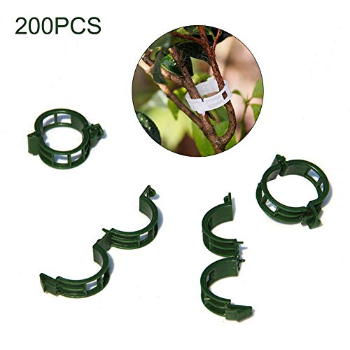 LAMF 200Pcs Plant Support Clips for Flower Vine Twine Tomato Orchid Tomato Trellis Clips Plant Support Garden Clips Makes Garden Vegetables to Grow Upright and Healthier