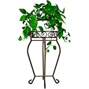 Yimobra Original Patented Tall Plant Stand Metal Flower Pot Holder Large Rustproof Iron Garden Container Heavy Duty Rack for Planter High Supports Indoor Outdoor 12.5 X 23.6 Inches, Bronze Brown