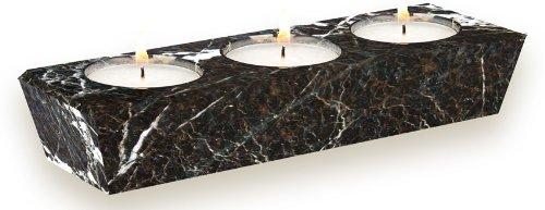 Black Marble 3 Hole Tea Light Candle Holder - Tea Lights Included