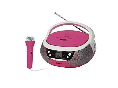 adio CD Daewoo - Función Karaoke Infantil - Reproductor de CD para Niños- Microfono con Cable, USB, MP3, Altavoz 1.2W, Radio AM/FM Analogica, Rosa