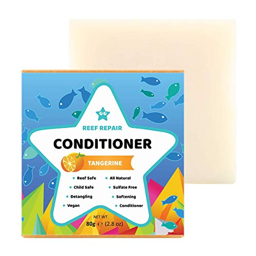 Reef Safe Conditioner Bar - Tangerine. All Natural Organic Vegan Conditioner Bar for Dry or Curly Hair. Detangling, Softening, Preservative & Sulfate Free Conditioner bars from Reef Repair 2.8 Oz