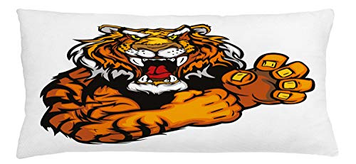 ABAKUHAUS Tiger Throw Pillow Cushion Cover, Cartoon Styled Very Angry Muscular Large Feline Mascot Animal Growling Print, Decorative Square Accent Pillow Case, 36 X 16 Inches, Black and Orange